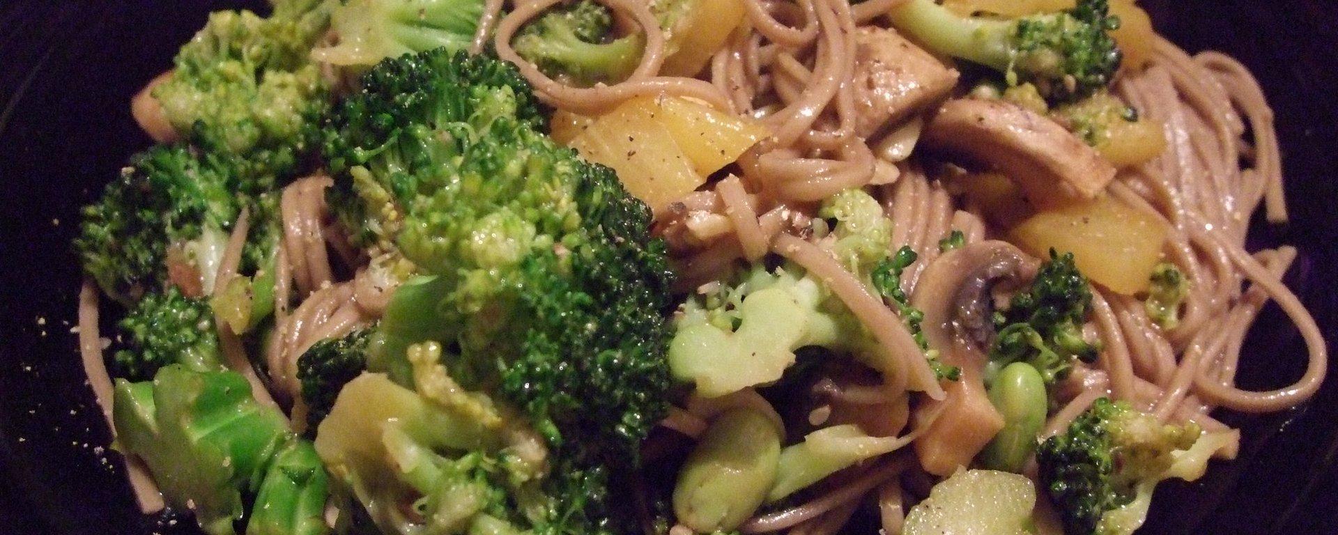 Mushroom broccoli noodle stir fry
