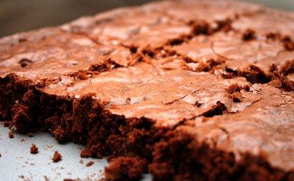 Fudge brownie with shiny top